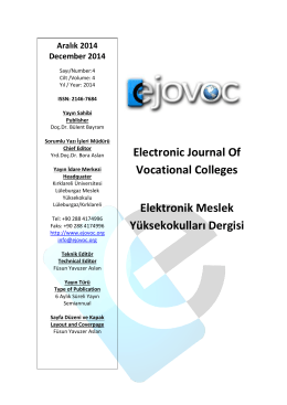 Electronic Journal Of Vocational Colleges Elektronik