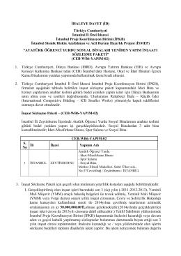 İHALEYE DAVET (İD) Türkiye Cumhuriyeti İstanbul İl Özel