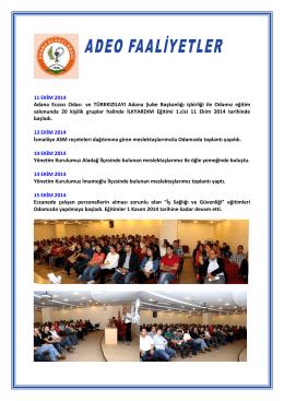 11 EKİM 2014 Adana Eczacı Odası ve TÜRKKIZILAYI Adana Şube