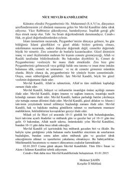 NİCE MEVLİD KANDİLLERİNE