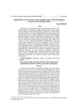 Şiiri Bilime Uygulamak - Atatürk Üniversitesi Türkiyat Araştırmaları