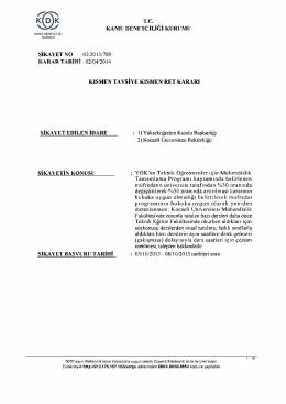 T.C. KAMU DENETÇİLİĞİ KURUMU ŞİKAYET NO :02.2013/789