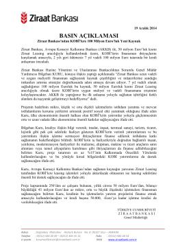 19 Aralık 2014 - Ziraat Bankası