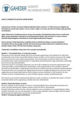 Kurs Tanıtım Yazısı - GAHEDER – Gaziantep Aile Hekimleri Derneği