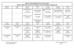 2015 güz yarıyılı final sınav programı