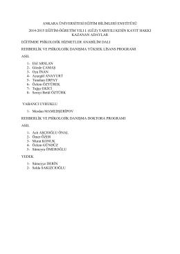 Kayıt Hakkı Kazananlar - Eğitim Bilimleri Enstitüsü