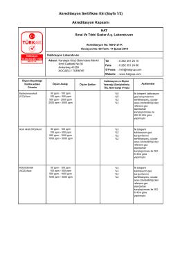 Akreditasyon Sertifikası Eki (Sayfa 1/2) Akreditasyon