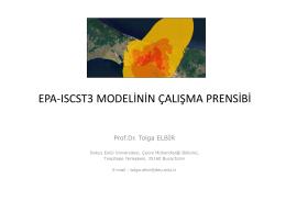 EPA-ISCST3 MODELİNİN ÇALIŞMA PRENSİBİ