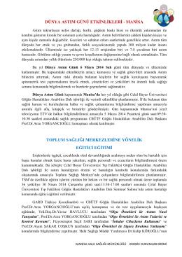 dünya astım günü etkġnlġklerġ - Manisa Halk Sağlığı Müdürlüğü