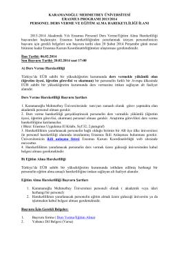 ilan metni - KMU Erasmus Kurum Koordinatörlüğü