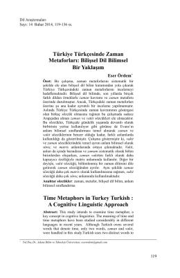 Türkiye Türkçesinde Zaman Metaforları: Bilişsel