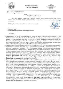 T.C. ELAZIĞ BELEDİYESİ Yazı İşleri Müdürlüğü Sayı : M.23.2.ELA