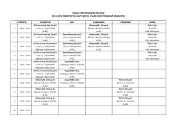 2014 - 2015 Güz Yarıyılı Lisans Ders Programı