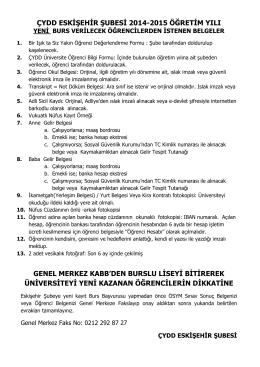 ÇYDD ESK ŞEH R ŞUBES 2014-2015 ÖĞRET M YILI GENEL