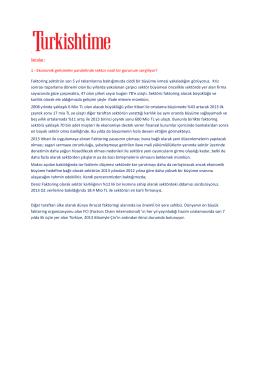 Ekonomik Gelişmeler Paralelinde Sektör - deniz