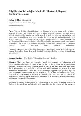 Bilgi İletişim Teknolojilerinin Rolü: Elektronik Boyutta Katılım - Inet-tr