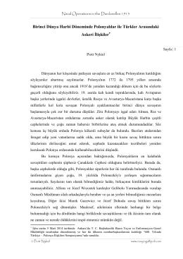 Birinci Dünya Harbi Döneminde Polonyalılar ile Türkler Arasındaki