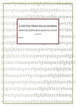 E-DEFTER FİRMA BİLGİLENDİRME