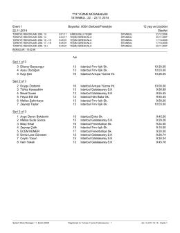 Startlist - Türkiye Yüzme Federasyonu