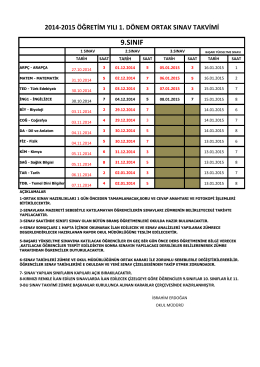 2014-2015 1 dönem ortak sınavlar