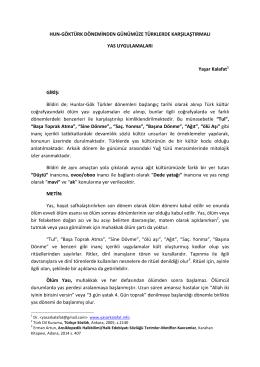 hun-‐göktürk döneminden günümüze türklerde karşılaştırmalı yas