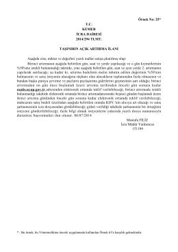 Örnek No: 25* T.C. KEMER İCRA DAİRESİ 2014