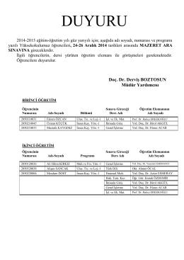 2014-2015 güz mazeret sınav proğramı