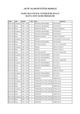 aktif akademi eğitim merkezi mart 2014 smmm yeterlilik sınavı hafta