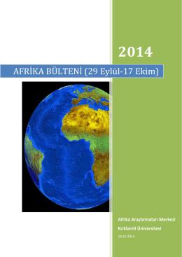 AFRİKA BÜLTENİ (29 Eylül-17 - Afrika Araştırmaları Uygulama ve
