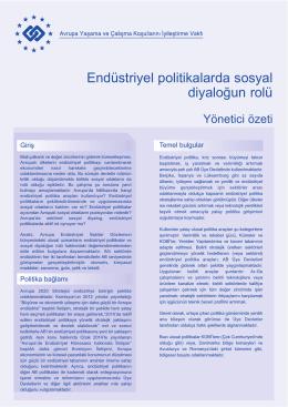 Endüstriyel politikalarda sosyal diyaloğun rolü - Eurofound