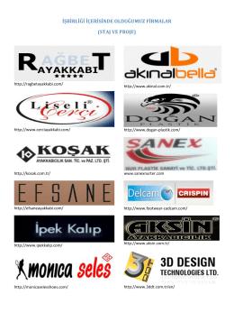 işbirliği içerisinde olduğumuz firmalar (staj ve proje)