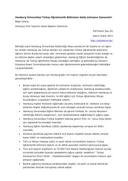 Hamburg Üniversitesi Türkce Ögretmenlik Bölümü.Yörenc