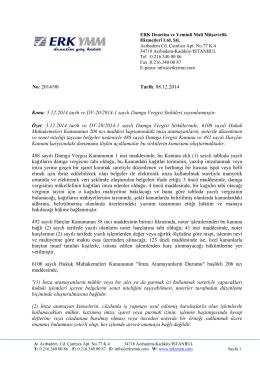 No: 2014/90 Tarih: 08.12.2014 Konu: 5.12.2014 tarih ve DV