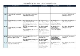 2013-2014 Öğretim Yılı Bahar Dönemi Lisans Ders Programı