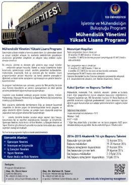 Mühendislik Yönetimi Yüksek Lisans Programı