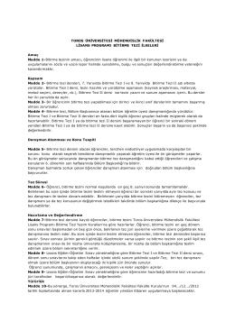 Toros Üniversitesi Mühendislik Fakültesi Lisans Programı Bitirme