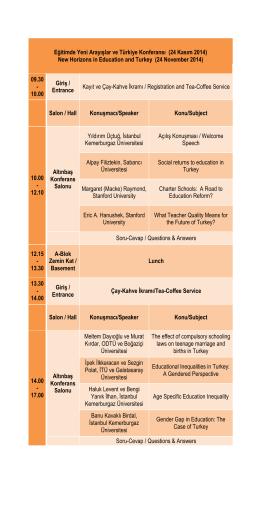 Eğitimde Yeni Arayışlar ve Türkiye Konferansı (24 Kasım 2014) New