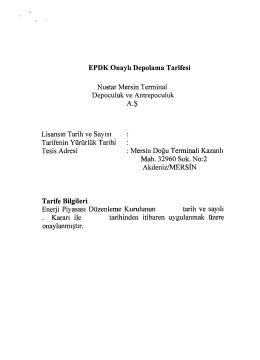 EPDK Onaylı Depolama Tarifesi Nustar Mersin Terminal Depoculuk