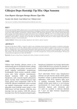 Glikojen Depo Hastalığı Tip IIIa: Olgu Sunumu