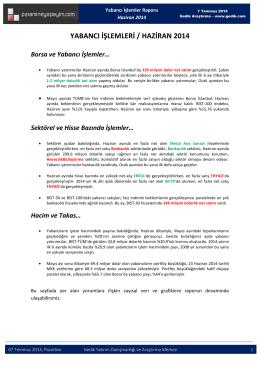 yabancı işlemleri / haziran 2014