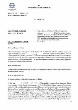 tc kamu denetçiliği kurumu karar tarihi:24/03/2014 ret kararı şikayet