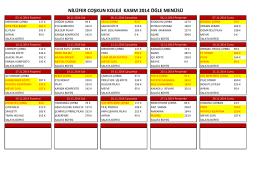 2014-Kasım Ayı Yemek Listesi