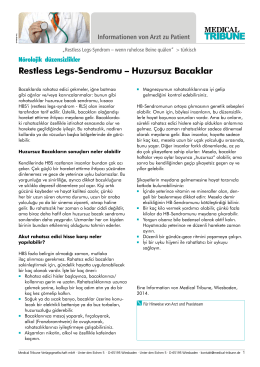 Restless Legs-Sendromu – Huzursuz Bacaklar