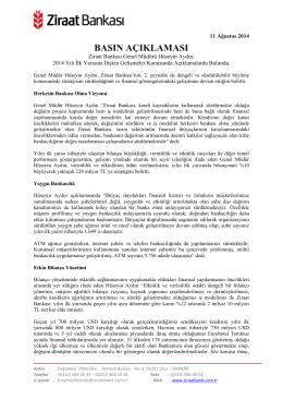 11 Ağustos 2014 - Ziraat Bankası