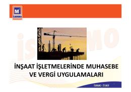 inşaat işletmelerinde muhasebe ve vergi uygulamaları