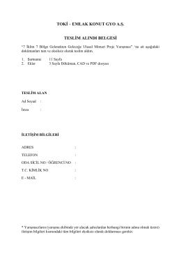 toki – emlak konut gyo a.ş. teslim alındı belgesi