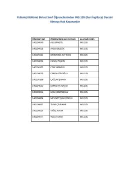 Psikoloji Bölümü Birinci Sınıf Öğrencilerinden ING 105 (ileri İngilizce