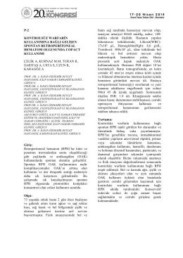 p-2 kontrolsüz warfarin kullanımına bağlı gelişen spontan