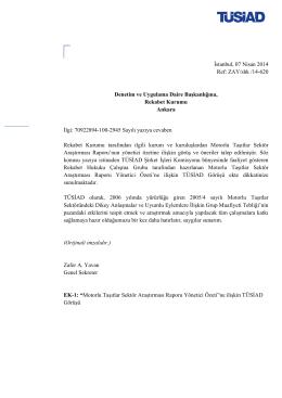 Motorlu Taşıtlar Araştırması Raporu Yönetici Özetine ilişkin TÜSİAD