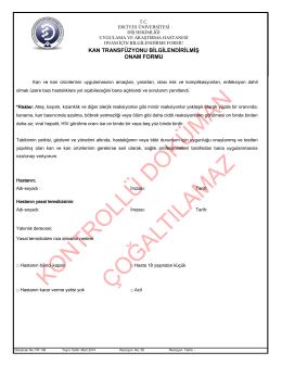Kan Transfüzyonu Onam Formu - Erciyes Üniversitesi Diş Hekimliği
